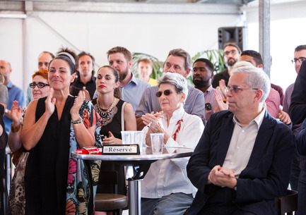 Press kit | 562-71 - Press release | Rainville-Sangaré Receives 2017 Phyllis Lambert Grant - Bureau du design - Ville de Montréal - Industrial Design - Manon Gauthier, member of the executive committee, responsible for Culture, Heritage, Design, Space for Life, Status of Women, Ville de Montréal, Phyllis Lambert - Photo credit: Mathieu Rivard