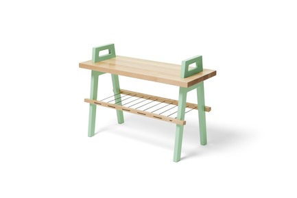 "Press kit | 2391-01 - Press release | Us & Coutumes Sets New 'Benchmark' with its Modifiable and Customizable Urban Living Designs - Us & Coutumes - Industrial Design - 28"" long birch bench with one shelf, mint legs - Photo credit: Jean-Sébastien Dénommé"