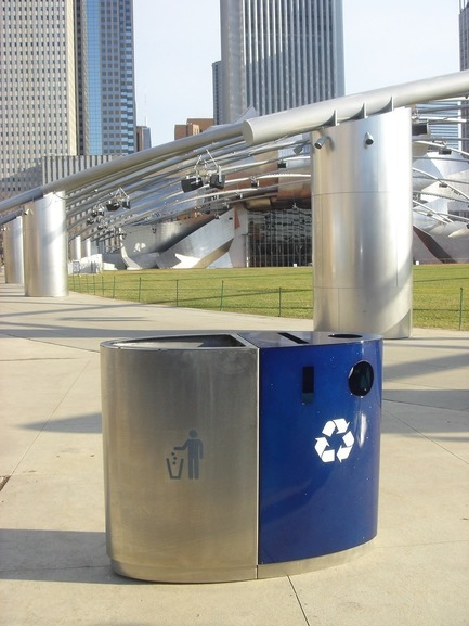 "Press kit | 2707-01 - Press release | EcoTrio® Commercial Recycling Bins - EcoTrio®, LLC - Industrial Design -  EcoTrio® ""The Millennium"" Commercial Recycling Bin with Frank Gehry Bandshell -  Millennium Park, Chicago (US Pat. No. D566 364 © 2008 ecotrio®, llc) - Photo credit: Deborah Kang"
