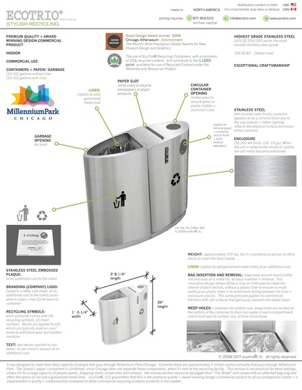 "Dossier de presse | 2707-01 - Communiqué de presse | EcoTrio® Commercial Recycling Bins - EcoTrio®, LLC - Industrial Design -  EcoTrio® ""The Millennium"" Commercial Recycling Bin - Product Data + Specifications (US Pat. No. D566 364 © 2008 ecotrio®, llc) - Crédit photo : Deborah Kang"