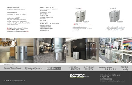 "Dossier de presse | 2707-01 - Communiqué de presse | EcoTrio® Commercial Recycling Bins - EcoTrio®, LLC - Industrial Design -   EcoTrio® ""The Street - I"" Commercial Recycling Bin - Brochure (Inside Pages) (US Pat. No. D540 500 © 2007 ecotrio®, llc)  - Crédit photo : Deborah Kang"