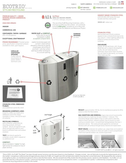Press kit | 2707-01 - Press release | EcoTrio® Commercial Recycling Bins - EcoTrio®, LLC - Industrial Design - Photo credit: Deborah Kang