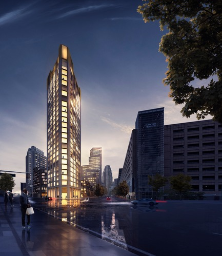 Dossier de presse | 2298-01 - Communiqué de presse | The Monroe Blocks, a Major Mixed-Use Development in the Heart of Downtown Detroit - Schmidt Hammer Lassen Architects - Urban Design - SHL_Detroit Monroe Blocks_Housing Tower - Crédit photo : Schmidt Hammer Lassen Architects