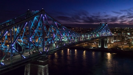 Dossier de presse | 1089-02 - Communiqué de presse | Illumination of the Jacques-Cartier Bridge | Creating the World's Most Connected Bridge - Moment Factory - Multimedia Design - Jacques Cartier Bridge Interactive Illumination_Living Connections<br> - Crédit photo : Moment Factory