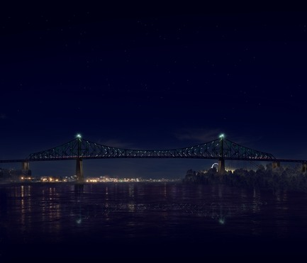Dossier de presse | 1089-02 - Communiqué de presse | Illumination of the Jacques-Cartier Bridge | Creating the World's Most Connected Bridge - Moment Factory - Multimedia Design -  Jacques Cartier Bridge Interactive Illumination (Render)_Hourly Data Show_Intro<br>WHEN: EVERY HOUR, ON THE HOUR AFTER DUSK<br>The bridge translates the Montreal data it has collected over the course of the day into a series of data visualisations. Pulling from a wide variety of data sources, including weather, traffic, news and social media, every show is updated in real-time and is totally unique. The ever-changing content makes the Jacques Cartier Bridge a barometer of Montreal life. - Crédit photo : Moment Factory