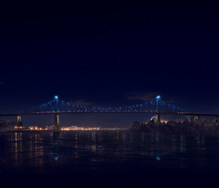Dossier de presse | 1089-02 - Communiqué de presse | Illumination of the Jacques-Cartier Bridge | Creating the World's Most Connected Bridge - Moment Factory - Multimedia Design -  Jacques Cartier Bridge Interactive Illumination (Render)_Hourly Data Show_Flow<br>WHEN: EVERY HOUR, AS PART OF THE HOURLY DATA SHOW<br>For the second part of the hourly show, the light illustrates the amount, density and movement of traffic going in and out of Montreal over the course of the day.<br>  - Crédit photo : Moment Factory