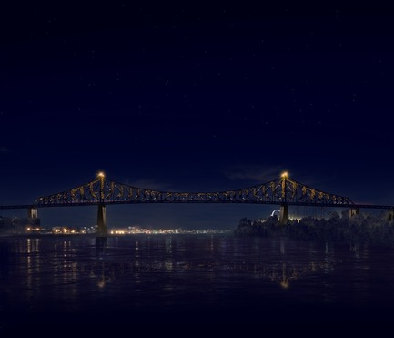 Dossier de presse | 1089-02 - Communiqué de presse | Illumination of the Jacques-Cartier Bridge | Creating the World's Most Connected Bridge - Moment Factory - Multimedia Design -  Jacques Cartier Bridge Interactive Illumination (Render)_Hourly Data Show_Media<br>WHEN: EVERY HOUR, AS PART OF THE HOURLY DATA SHOW<br>Next, the bridge is taken over by the topics discussed by the Montreal Media. As the visualisation reveals itself, we see the variety and intensity of the seven topics ofMontreal conversation; one colour for each topic. The more of a colour you see, the more it appeared in the media. Slowly, the day's most-discussed topic takes over the bridge, showcasing what was important to Montrealers that day.<br>  - Crédit photo : Moment Factory