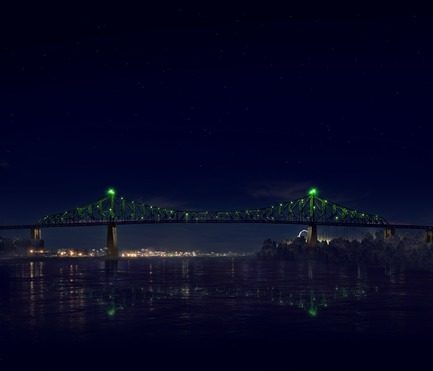 Dossier de presse | 1089-02 - Communiqué de presse | Illumination of the Jacques-Cartier Bridge | Creating the World's Most Connected Bridge - Moment Factory - Multimedia Design -  Jacques Cartier Bridge Interactive Illumination (Render)_Hourly Data Show_Mood<br>WHEN: EVERY HOUR, AS PART OF THE HOURLY DATA SHOW<br>For the final visualisation, the mood of the city takes over the bridge. Happy and joyful or downbeat and gloomy, the bridge reflects, in real-time, how the city expresses itself online. - Crédit photo : Moment Factory
