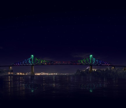 Dossier de presse | 1089-02 - Communiqué de presse | Illumination of the Jacques-Cartier Bridge | Creating the World's Most Connected Bridge - Moment Factory - Multimedia Design -  Jacques Cartier Bridge Interactive Illumination (Render)_Midnight Show<br>WHEN: MIDNIGHT<br>The bridge bursts into full life to signify the changing of the day. With a new day comes a new colour so the bridge cycles through all 365 colours of the chromatic calendar searching for its new identity. It explores wave after wave of colour until finally, the bridge has its new look for a new day. - Crédit photo : Moment Factory