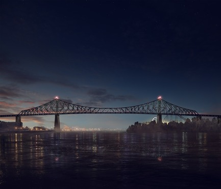 Dossier de presse | 1089-02 - Communiqué de presse | Illumination of the Jacques-Cartier Bridge | Creating the World's Most Connected Bridge - Moment Factory - Multimedia Design -  Jacques Cartier Bridge Interactive Illumination (Render)_Good Morning<br>WHEN: JUST BEFORE DAWN<br>At dawn's first light, the bridge's exterior skin re-awakens to greet the sun. Taking its colour directly from the sky overhead, the bridge twinkles in the morning light, waving a subtle 'good morning' to Montreal's early risers.<br><br>  - Crédit photo : Moment Factory