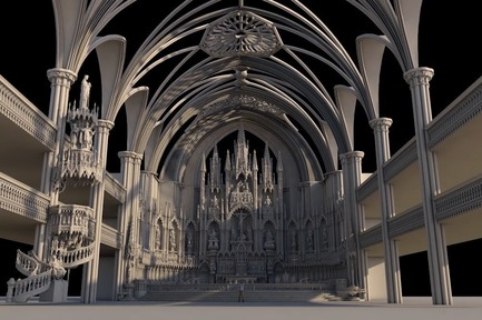 Press kit | 1089-03 - Press release | AURA Creates Awe-Inspiring Experience in the Heart of a Celebrated Historic Cathedral - Moment Factory - Multimedia Design -  Aura_3D_Visuals_3D_Scan  - Photo credit: Moment Factory