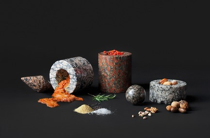 "Press kit | 990-05 - Press release | Out with Marble: KAYIWA Proves That Granite Has Always Been ""In"" - KAYIWA - Product - SM Mortar and Pestle - Maaninka Pink, Moss Granite, Arctic Pearl, Arctic Red and Forest Pearl  - Photo credit: KAYIWA"