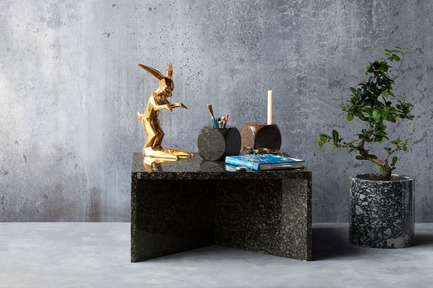"Press kit | 990-05 - Press release | Out with Marble: KAYIWA Proves That Granite Has Always Been ""In"" - KAYIWA - Product - NZELA Coffee Table - Baltic Green & OSMO Flower Pot - Viitasaari Dark - Photo credit: KAYIWA"