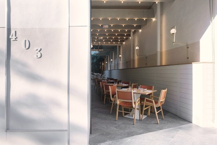 "Press kit | 788-05 - Press release | Restaurant ""Perles et Paddock"" - FX Studio by clairoux - Commercial Interior Design - street front interior design restaurant montreal - Photo credit: atelier welldone"