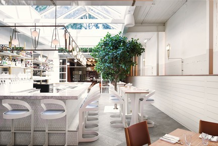 "Press kit | 788-05 - Press release | Restaurant ""Perles et Paddock"" - FX Studio by clairoux - Commercial Interior Design - interior design bar and restaurant by Clairoux - centre skylight in modern in industrial architecture - Photo credit: atelier welldone"