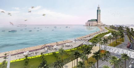 Dossier de presse | 865-22 - Communiqué de presse | Rediscover Lemay: 60 Years of Visionary Design - Lemay - Event + Exhibition - Coastal promenade of the Hassan II Mosque - Lemay - Casablanca, Morocco, In Progress - Crédit photo : Rendering - Lemay