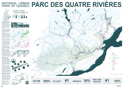 Press kit | 2647-02 - Press release | International Ideas Competition Reinventing Our Rivers: Four Rivers, Three Winners - Ville de Québec - Urban Design -   Second place - Parc des quatre rivières map  - Photo credit:  The WHITE Arkitekter team