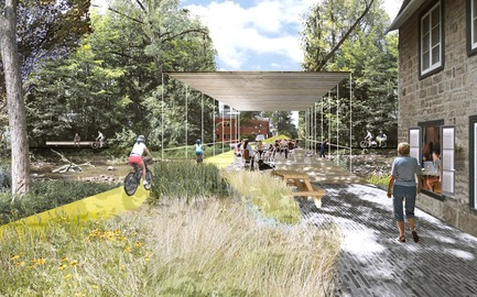 Dossier de presse | 2647-02 - Communiqué de presse | Concours international d'idéesRêvons nos rivières : trois lauréats au concours pour quatre rivières - Ville de Québec - Design urbain -  Premier prix - River Terminus of Headwater Lot Avenue Royal<br><br>The Brown Mill Dam Bridge and Park area at the intersection of Headwater Lots at Avenue Royale and Boulevard François-De Laval is a space for cultural activity. It invited people to stay and enjoy the sounds of the cascades.<br>  - Crédit photo : L'équipe CADASTER