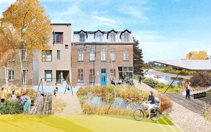 Dossier de presse | 2647-02 - Communiqué de presse | Concours international d'idéesRêvons nos rivières : trois lauréats au concours pour quatre rivières - Ville de Québec - Design urbain -  Premier prix - River Terminus of Headwater Lot at Pointe-aux-Lièvres<br><br>The covered platform at the river space is shown as a exhibition grounds connected to Pointe-aux-Lièvres sports site and proposed park redevelopment area. This terminus is grounds to celebrate the relationship between the expanded mixed-use corridor, existing urban areas, and ecological design of the headwater lot.<br>  - Crédit photo : L'équipe CADASTER