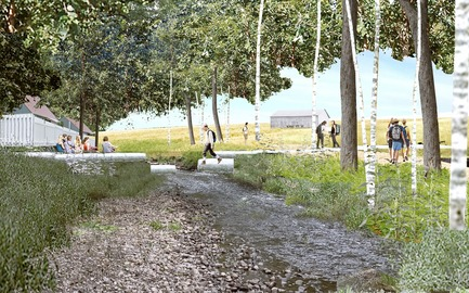 Dossier de presse | 2647-02 - Communiqué de presse | Concours international d'idéesRêvons nos rivières : trois lauréats au concours pour quatre rivières - Ville de Québec - Design urbain -  Premier prix - Headwater Lot at Agricultural Trail<br><br>        The river terminus here is designed as a low water crossing, a space for close interaction with the water. The space of the headwater lot is proposed to be a path for local agricultural trail. The riparian forest buffer is regenerated to improve water quality.<br>  - Crédit photo : L'équipe CADASTER
