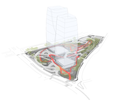 Dossier de presse | 2657-01 - Communiqué de presse | A Mata Atlântica Forest in São Paulo - Balmori Associates - Landscape Architecture - Diagram depicts in red the 1km (0.6 miles) pedestrian loop through the site. - Crédit photo : Courtesy of Balmori Associates