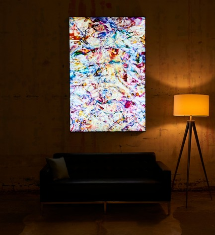 "Press kit | 2796-01 - Press release | Big Naked Wall Creates New Art Category with Backlit Frames - Big Naked Wall - Art -  Titled "" Colored Spectacle"" by Mark Lovejoy, this is another picture displaying the beauty and size of the backlit frames darker setting.   - Photo credit: Big Naked Wall"