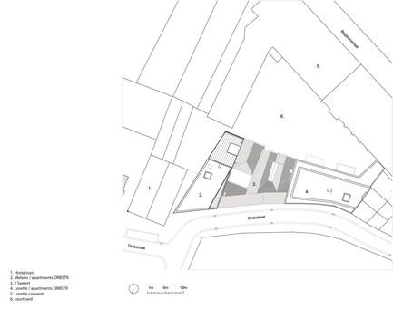 Dossier de presse | 2779-01 - Communiqué de presse | Lorette Convent - Apartments Drabstraat - dmvA - Urban Design - Situation plan - Crédit photo : dmvA