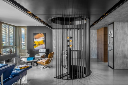 "Press kit | 2769-02 - Press release | One Oak 3&4 B2 - Askdeco - Residential Interior Design - - White lounge chairs - Vitra Eames <br>- Artwork - Etienne Gros<br>- Buffet - Henge07<br>- ""Lune"" Ado Chale Coffee Table in lounge area <br>-Blue Cigar Box - Elie Bleu <br>-Sofa Bed - 241 Privè - Cassina<br>-The playful 'Domino' mirror by Hubert Le Gall <br>-Metal Stairs bar designed by Askdeco and custom made by local supplier ACID<br>- Dolm Console behind the Stairs bar - Galotti & Radice  <br>-Candy Light Lamp - Baccarat - Photo credit: Alex Jeffries"