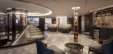 Dossier de presse | 2066-09 - Communiqué de presse | Business As [Un]usual - II BY IV DESIGN - Residential Interior Design - Crystal Cruises_Crystal Bach (Rivership) Lobby  - Crédit photo : Norm Li