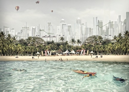 Press kit | 2560-02 - Press release | A 58 km2 Visionary Master Plan, Jakarta Jaya: the Green Manhattan, Wins a WAFX Prize - SHAU - Urban Design -         New tourism: a juxtaposition of white sandy beach with vertical green city - Photo credit: @shauarchitects
