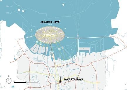 Press kit | 2560-02 - Press release | A 58 km2 Visionary Master Plan, Jakarta Jaya: the Green Manhattan, Wins a WAFX Prize - SHAU - Urban Design -         Connectivity map of Jakarta Jaya: the Green Manhattan and Jakarta Raya: the old city - Photo credit: @shauarchitects
