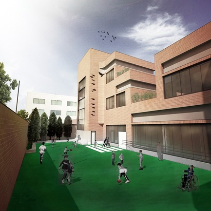 Press kit | 3042-01 - Press release | Tehran Educational Complex for Students with Special Needs - Arezou Zaredar - Competition - Tehran Educational Complex for Students with Special Needs - Second Primary School Yard - Photo credit: Arezou Zaredar