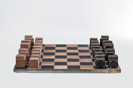 Press kit | 2350-02 - Press release | Elena Vandelli Ηandcrafted Design - Elena Vandelli, Architect and Designer - Fashion Design -  Leather Chess,  board and pieces, overview  - Photo credit:  @ George Messaritakis