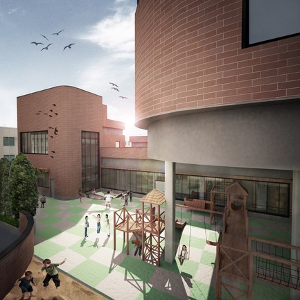 Press kit | 3042-01 - Press release | Tehran Educational Complex for Students with Special Needs - Arezou Zaredar - Competition -    Tehran Educational Complex for Students with Special Needs - Preschool Yard    - Photo credit: Arezou Zaredar