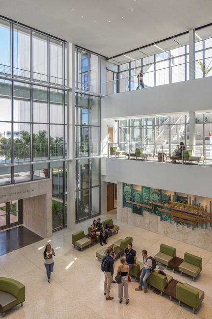 Press kit | 2353-02 - Press release | Innovative and Award-Winning Facade of USF-SP's Tiedemann College of Business Recalls Native Coral in Ecofriendly Envelope - ikon.5 architects - Institutional Architecture - business commons looking to Scholars' Garden - Photo credit: Brad Feinknopf