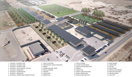 Dossier de presse | 3202-01 - Communiqué de presse | Coachella Valley High School Agriculture + Natural Resources Academy - PJHM Architects - Institutional Architecture -  CVHS Agriculture + Natural Resources - Site Aerial Program - Crédit photo : PJHM Architects