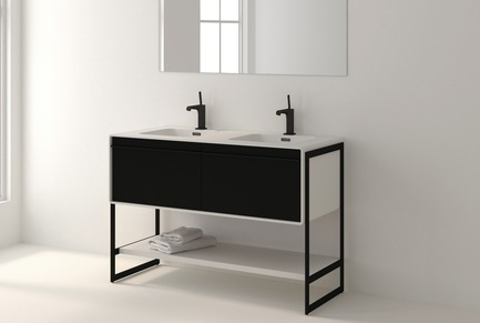 Press kit | 2342-02 - Press release | Introducing Déco Collection - WETSTYLE - Product - Déco 48 inch floor-mount vanity. Wood finish: Oak Black and White Matte lacquer. Stainless steel finish: Matte black metal.  - Photo credit: WETSTYLE