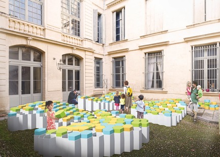 Dossier de presse | 982-40 - Communiqué de presse | 2018 Festival des Architectures Vives - Association Champ Libre - Festival des Architectures Vives (FAV) - Event + Exhibition - Jeu de Formes, Forme de Jeux - Crédit photo :  (hexa)gones - Anaïs Cornu, Logan Rainon et Mylène Serra <br>