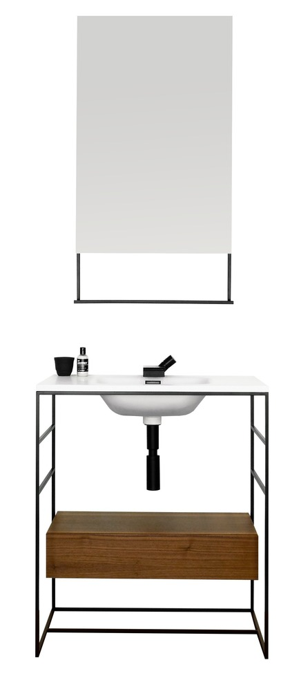 Press kit | 2342-03 - Press release | WETSTYLE Reveals C2; New Vanity and Accessories Collection - WETSTYLE - Product - C2 Collection: 30 inch console and wall-mounted drawer with 19 inch mirror - Photo credit: WETSTYLE