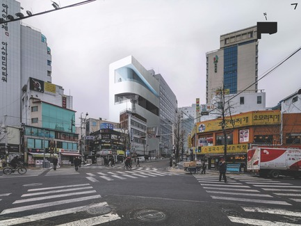 "Press kit | 1832-05 - Press release | The City of Seoul Finally Released the Sketch of the Seoul Cinematheque (tentative name), the ""Dream of Chungmuro"" - Seoul Metropolitan Government - Competition - Winner Rendering Image - Photo credit: Mass Studies"