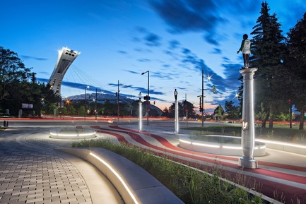 "Press kit | 2366-02 - Press release | Strong Graphics for Montreal's ""Parc Guido-Nincheri"" - civiliti - Urban Design -  View of the Parc Guido-Nincheri with Montréal's Olympic Stadium in the background<br>  - Photo credit:  David Giral"