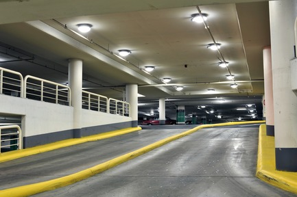 "Press kit | 2124-02 - Press release | IESBC Announces its 2018 'Vision Awards' for Best Lighting Design in BC, Canada - IESBC - Lighting Design -         Metrotown Parkade Lighting Upgrade -         ""After"" image of a parkade ramp with new light-emitting diode (LED) fixtures. Yellow safety features, stop signs, and pedestrians are now highly visible to drivers. - Photo credit:         Dmitri Eliasov"