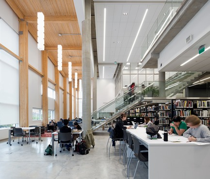 Press kit | 2124-02 - Press release | IESBC Announces its 2018 'Vision Awards' for Best Lighting Design in BC, Canada - IESBC - Lighting Design -  Emily Carr -        The Library consists of custom pendants, recessed slotlights, and gimble lights to provide quality, low glare and warm illumination.  - Photo credit:          Silent Sama