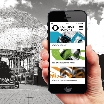 Press kit | 2390-01 - Press release | Portrait Sonore Launches its Free Application on Art, History and Architecture - Portrait Sonore - Multimedia Design - Screenshot of Portrait Sonore's App in front of the former pavilion of the United States for the 1967 World Fair, today the Biosphere, on île Sainte-Hélène, Montreal. - Photo credit: © Portrait Sonore, 2018