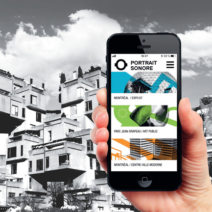 Press kit | 2390-01 - Press release | Portrait Sonore Launches its Free Application on Art, History and Architecture - Portrait Sonore - Multimedia Design - Screenshot of Portrait Sonore's App in front of Habitat 67, Montreal, - Photo credit: © Portrait Sonore, 2018