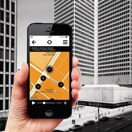 Press kit | 2390-01 - Press release | Portrait Sonore Launches its Free Application on Art, History and Architecture - Portrait Sonore - Multimedia Design - Screenshot of Portrait Sonore's App (with map of Montreal / Downtown Modern tour) in front of Place Ville-Marie. - Photo credit: © Portrait Sonore, 2018