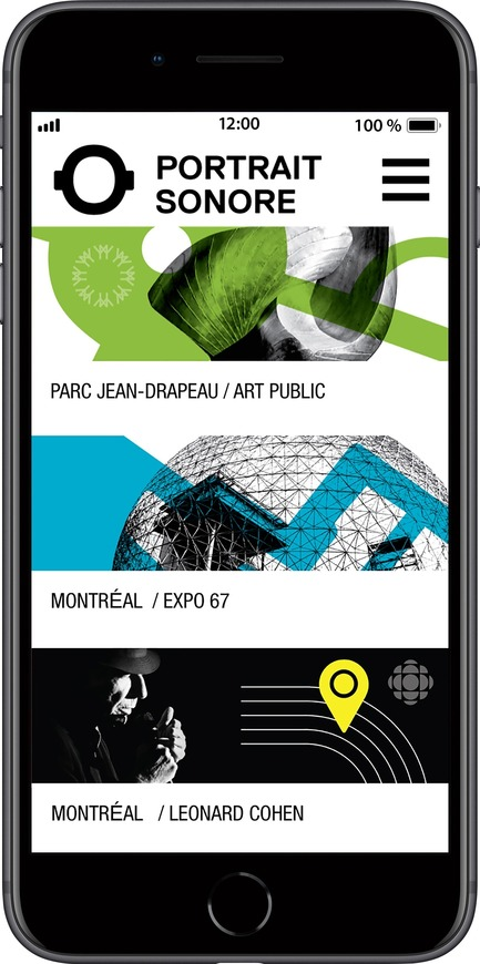 Press kit | 2390-01 - Press release | Portrait Sonore Launches its Free Application on Art, History and Architecture - Portrait Sonore - Multimedia Design - Screenshot of Portrait Sonore's App showing catalogue. - Photo credit: © Portrait Sonore, 2018