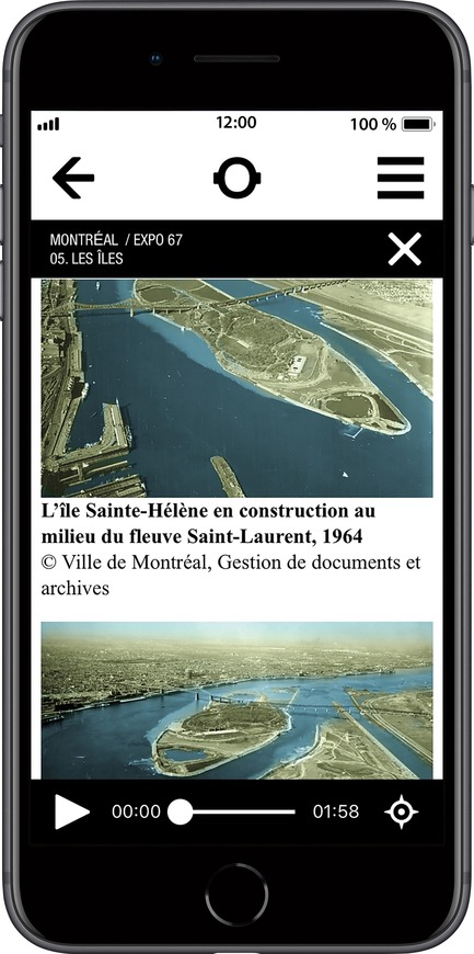 Press kit | 2390-01 - Press release | Portrait Sonore Launches its Free Application on Art, History and Architecture - Portrait Sonore - Multimedia Design - Screenshot of Portrait Sonore's App showing aerial view of the construction of the islands in 1964. - Photo credit: © Ville de Montréal, Gestion de documents et archives
