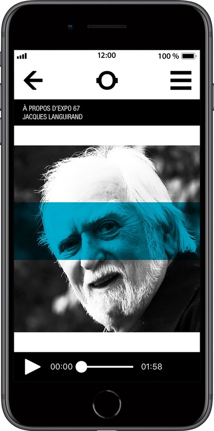 Press kit | 2390-01 - Press release | Portrait Sonore Launches its Free Application on Art, History and Architecture - Portrait Sonore - Multimedia Design - Screenshot of Portrait Sonore's App showing the interview page with quebecois comedian, journalist and writer Jacques Languirand (1931-2018). - Photo credit: © Portrait Sonore, 2018