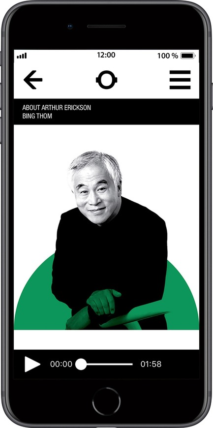 Press kit | 2390-01 - Press release | Portrait Sonore Launches its Free Application on Art, History and Architecture - Portrait Sonore - Multimedia Design - Screenshot of Portrait Sonore's App showing architect Bing Thom. - Photo credit: © Portrait Sonore, 2018